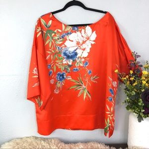 Soft Surroundings floral satin oversized Asian